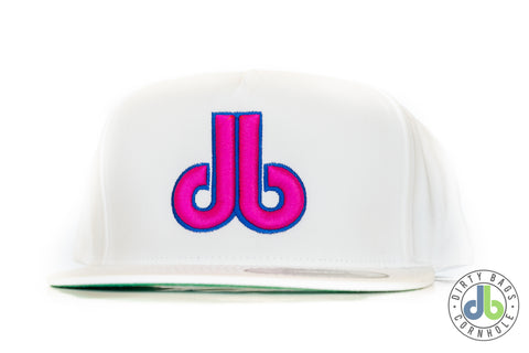 db hat - White and Neon Pink