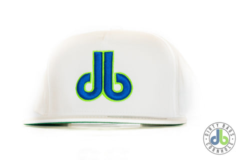 db hat - White and Neon Blue