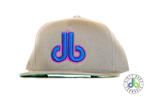 db hat - Gray and Neon Blue