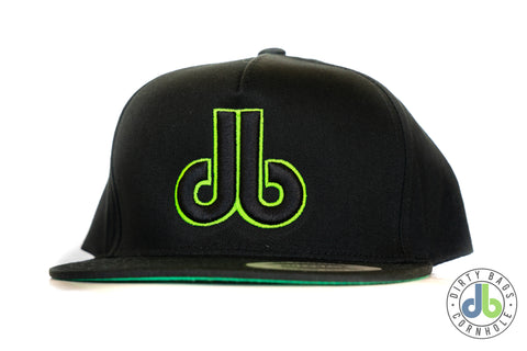 db hat - Black on Black with Neon Green