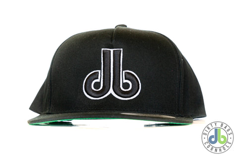 db hat - Black on Black with White trim