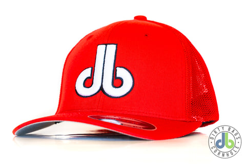 db Hat – Red with White db Mesh Flexfit