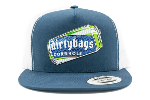dirtybags cornhole Beer Can Hat - Navy / White Trucker