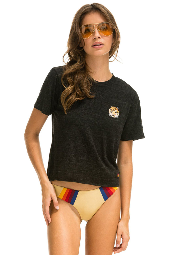 Aviator Nation - Tiger Embroidered Cropped Tee