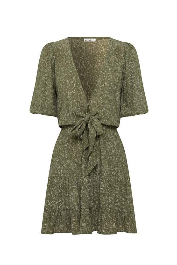 Kivari - Aria Tie Front Mini Dress - Khaki