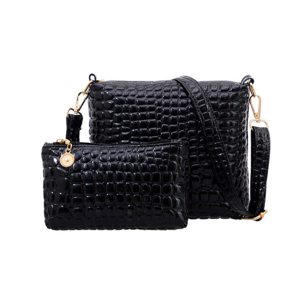 2pc Bag Set Messenger Bag/Clutch Quilted Crocodile Handbag Set