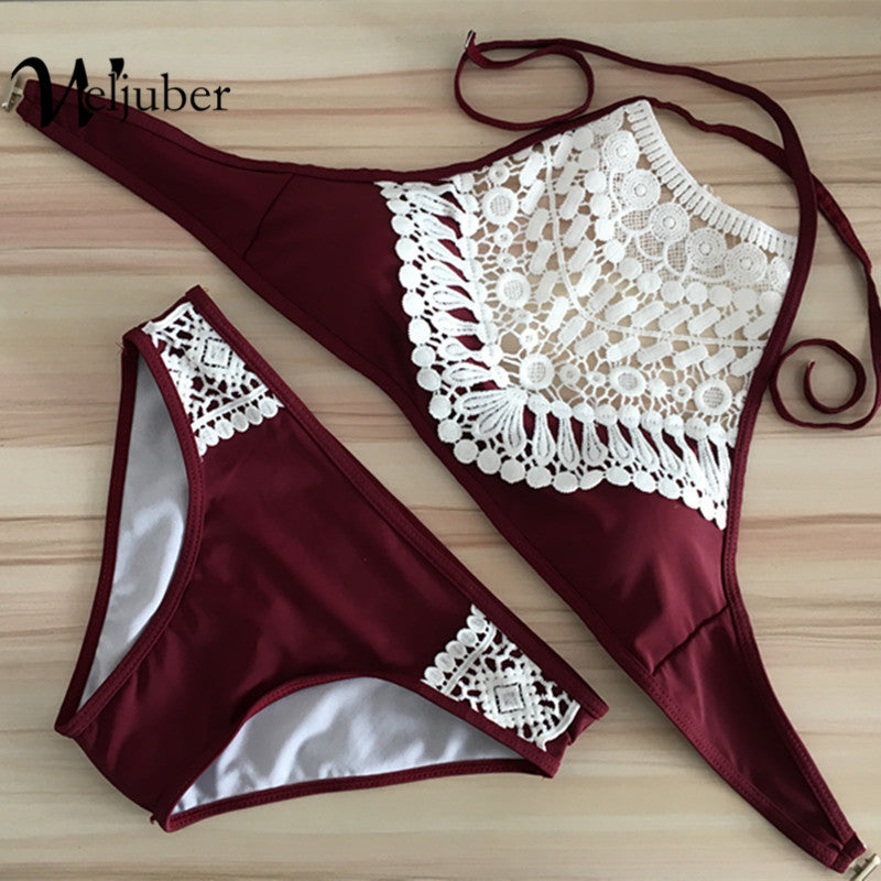 2017 Push Up Summer High Neck Lace Sexy Bikini