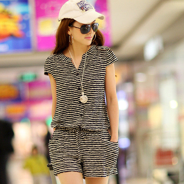 2017 Summer V-neck Button Down Short-sleeve Light Romper