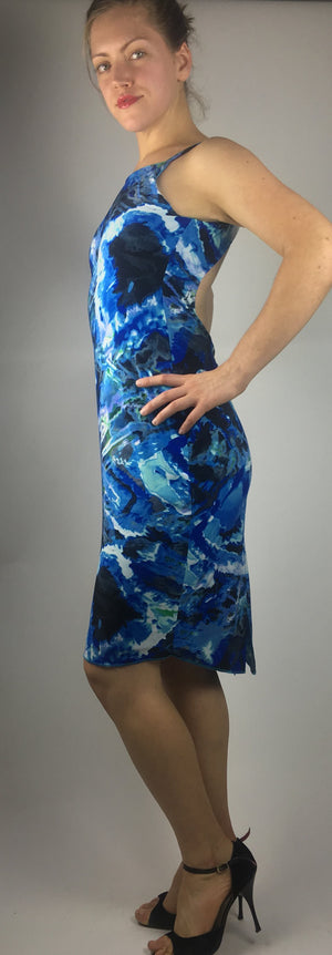Blue Multi-Color Open Back Argentine Tango Dress - Bailemos Dancewear