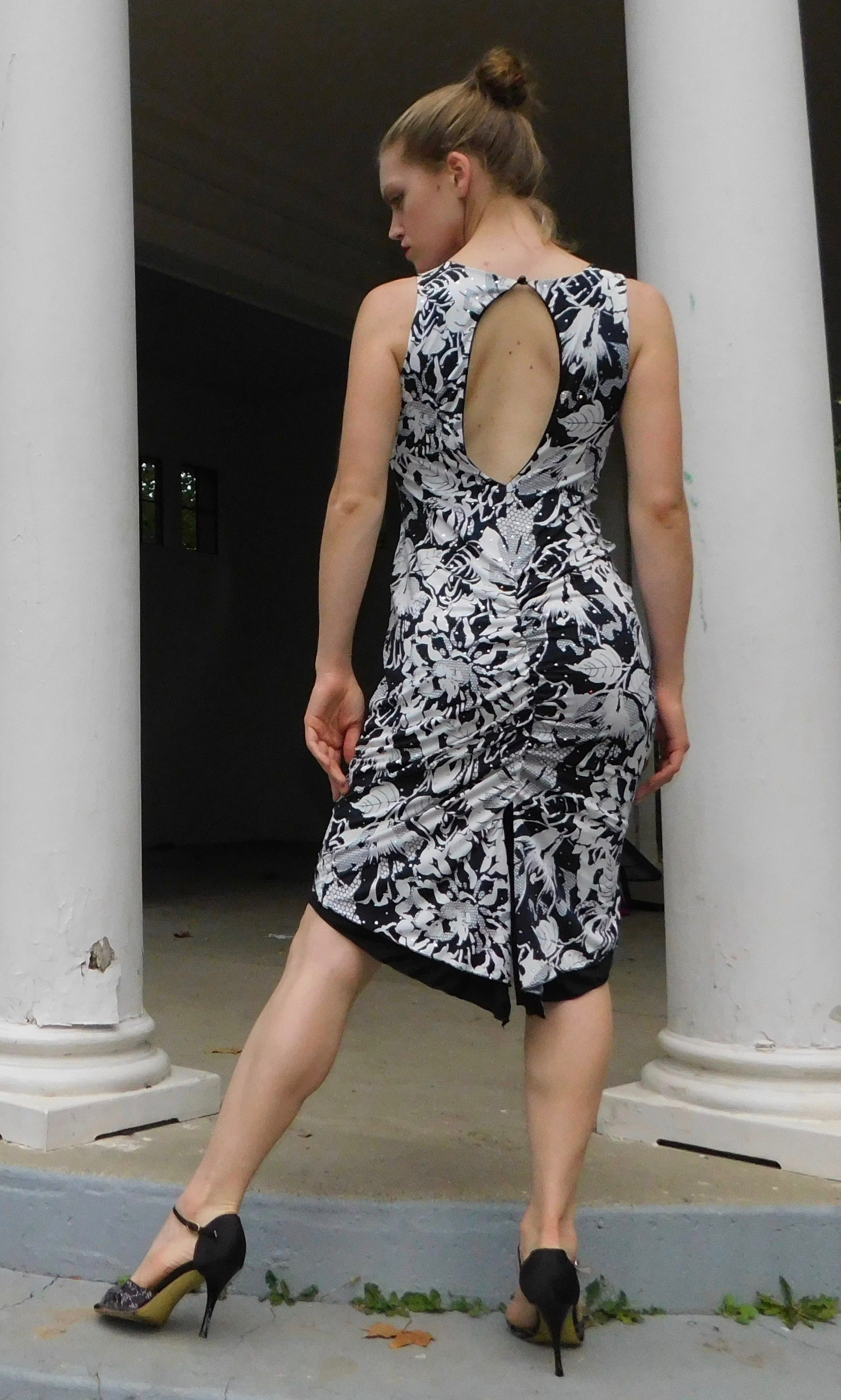 Black and white sequined floral print tango dress - Bailemos Dancewear