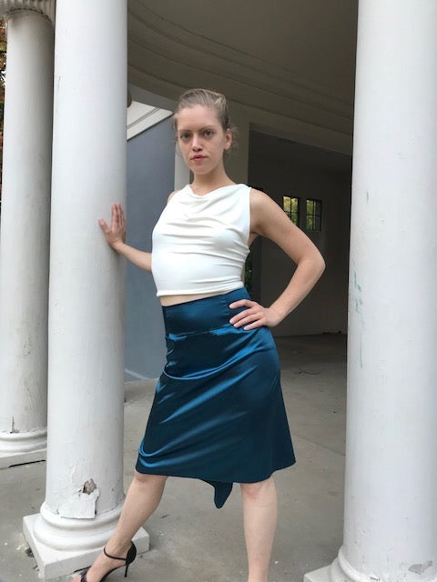 Teal blue fishtailed charmeuse tango skirt - Bailemos Dancewear