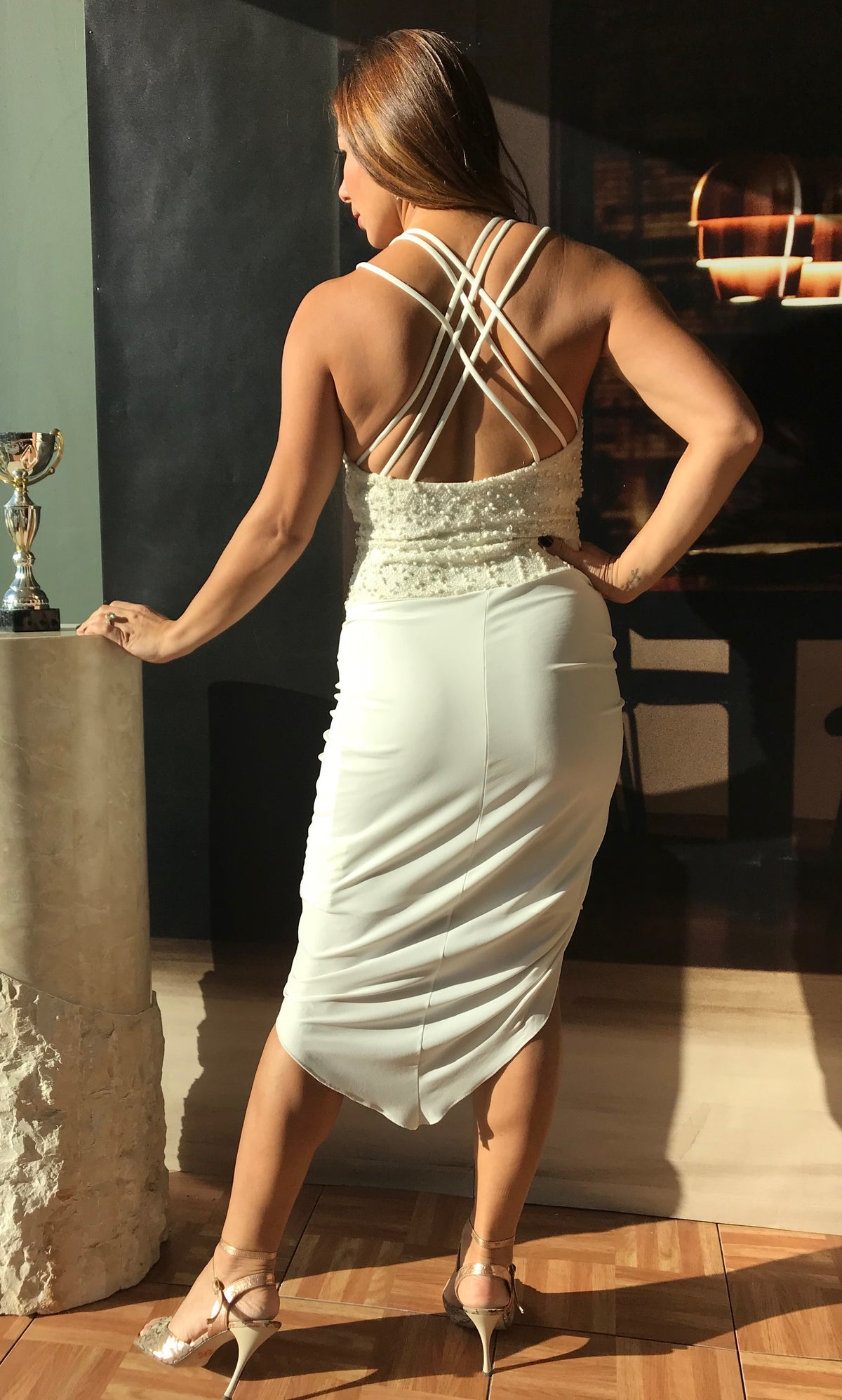 tango dress, white, elegant, asymmetrical - Bailemos Dancewear