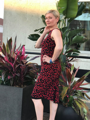 Red and black print reversible tango dress - Bailemos Dancewear