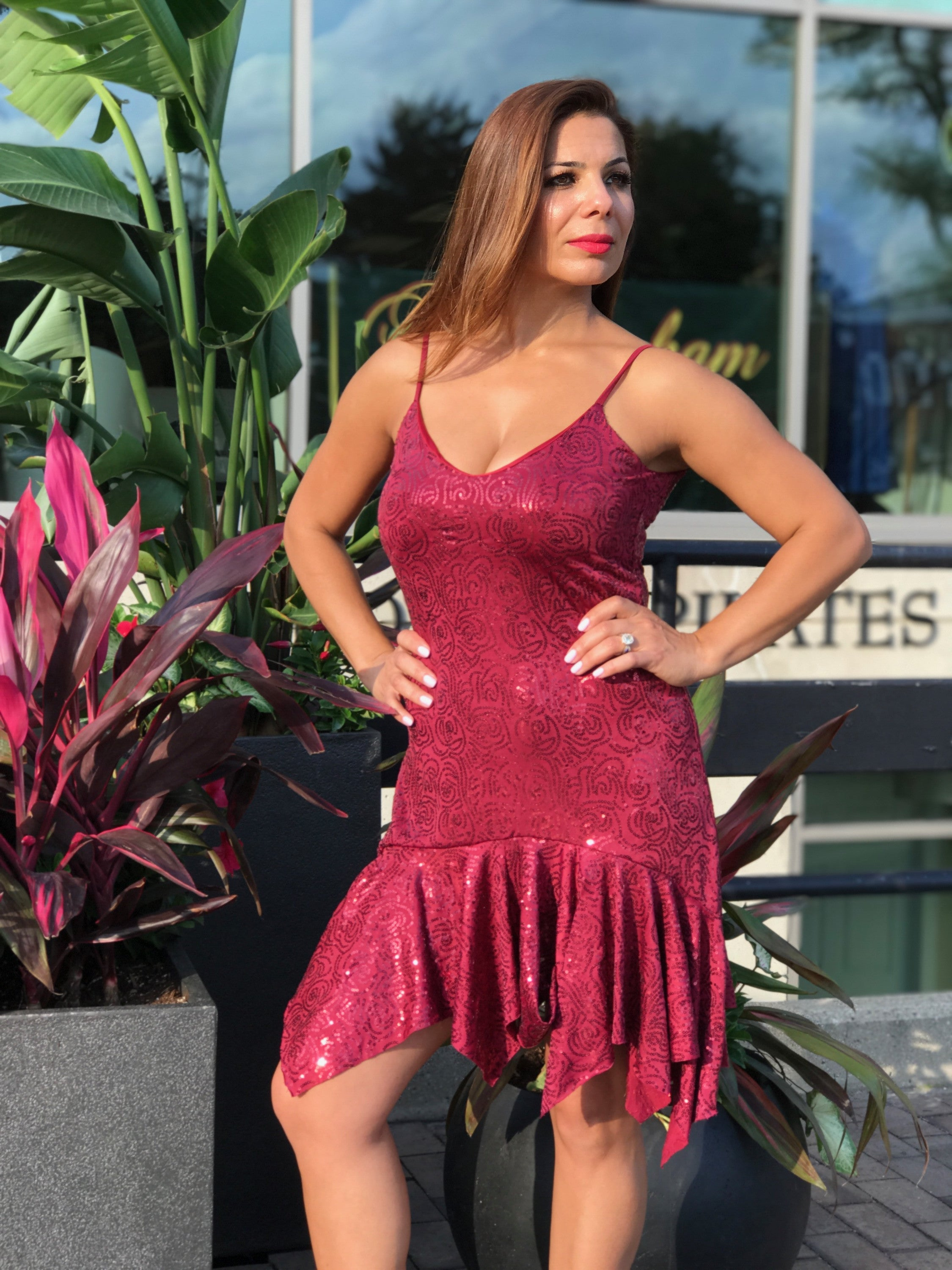 Sequined cranberry dress with asymmetrical hem - Bailemos Dancewear