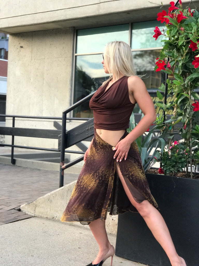 Burnt Brown Velvet Skirt with High Slit - Bailemos Dancewear