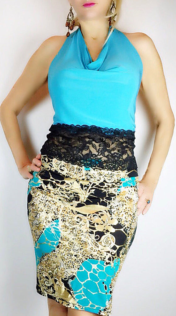 Turquoise print pencil skirt with ruching in back - Bailemos Dancewear