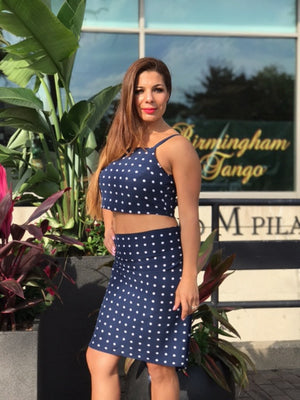 Navy Polka Dot Skirt Set Exclusive to Bailemos Dancewear - Bailemos Dancewear