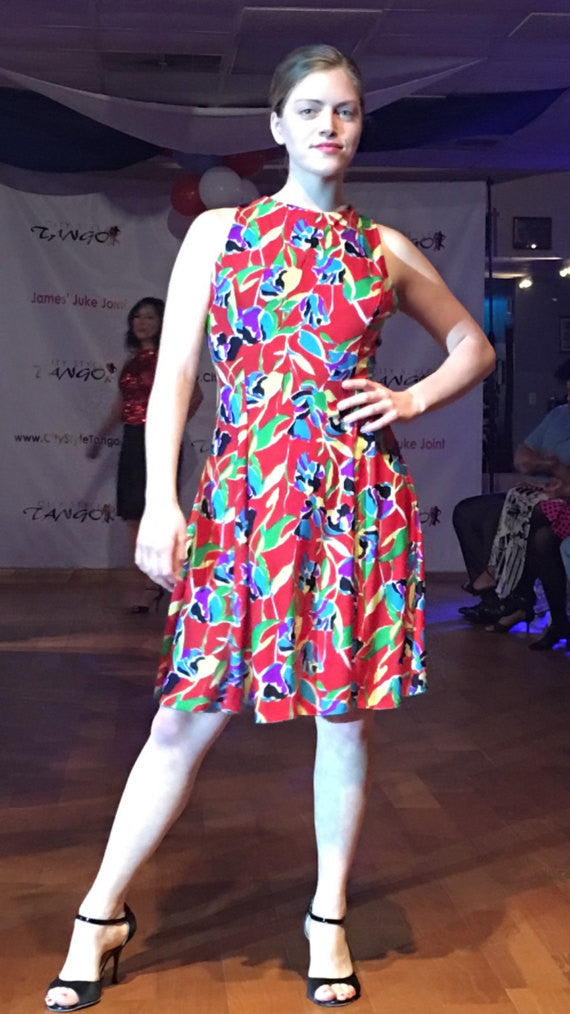 Red Print Dress for Tango Dancing - Bailemos Dancewear