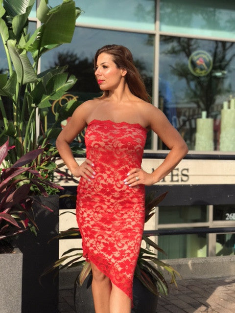 Red Lace Tube Dress for Tango Dancing - Bailemos Dancewear
