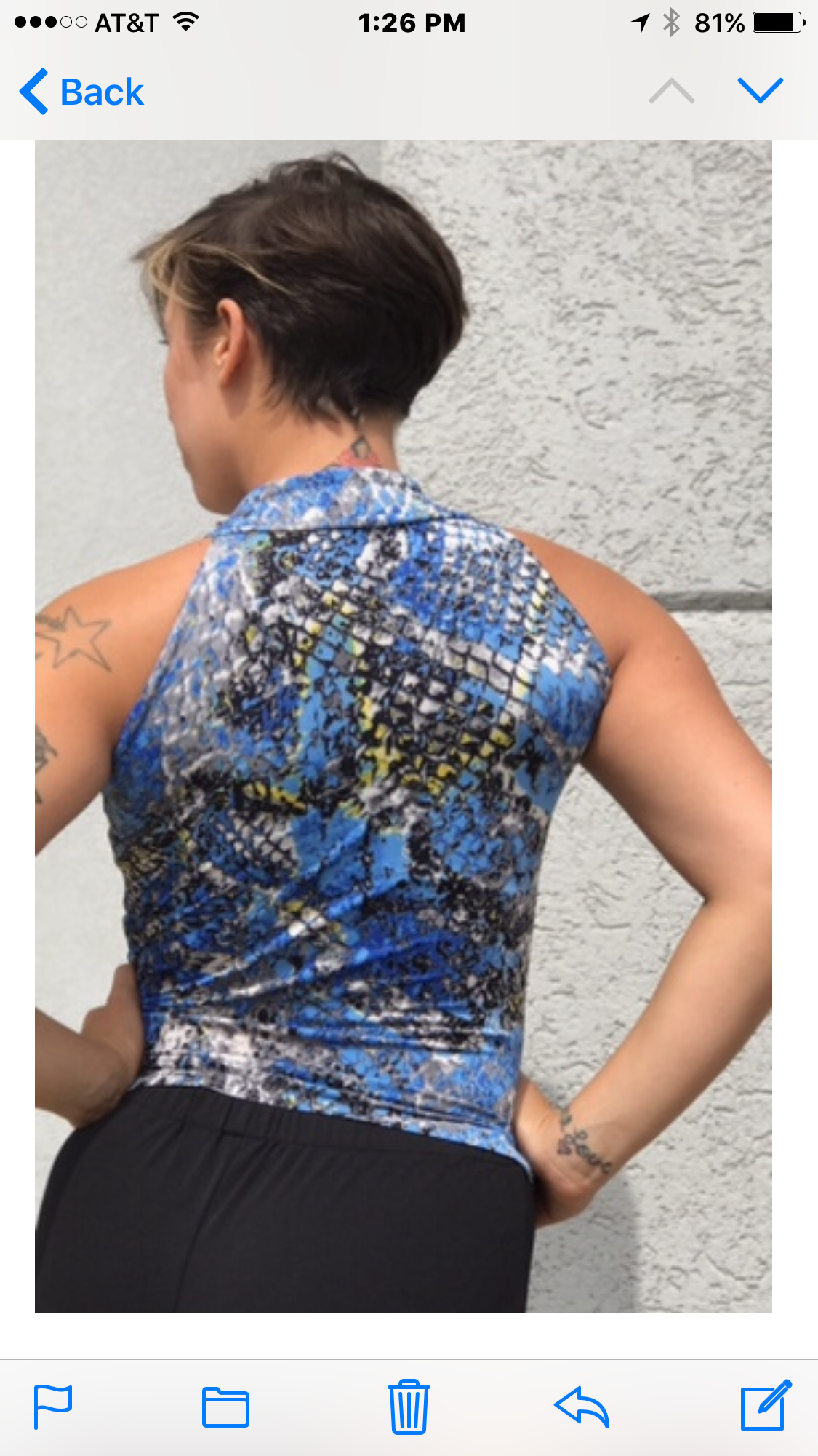 Blue/gray snake print high neck crop top - Bailemos Dancewear