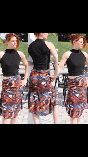 Tango skirt brown/black abstract print - Bailemos Dancewear