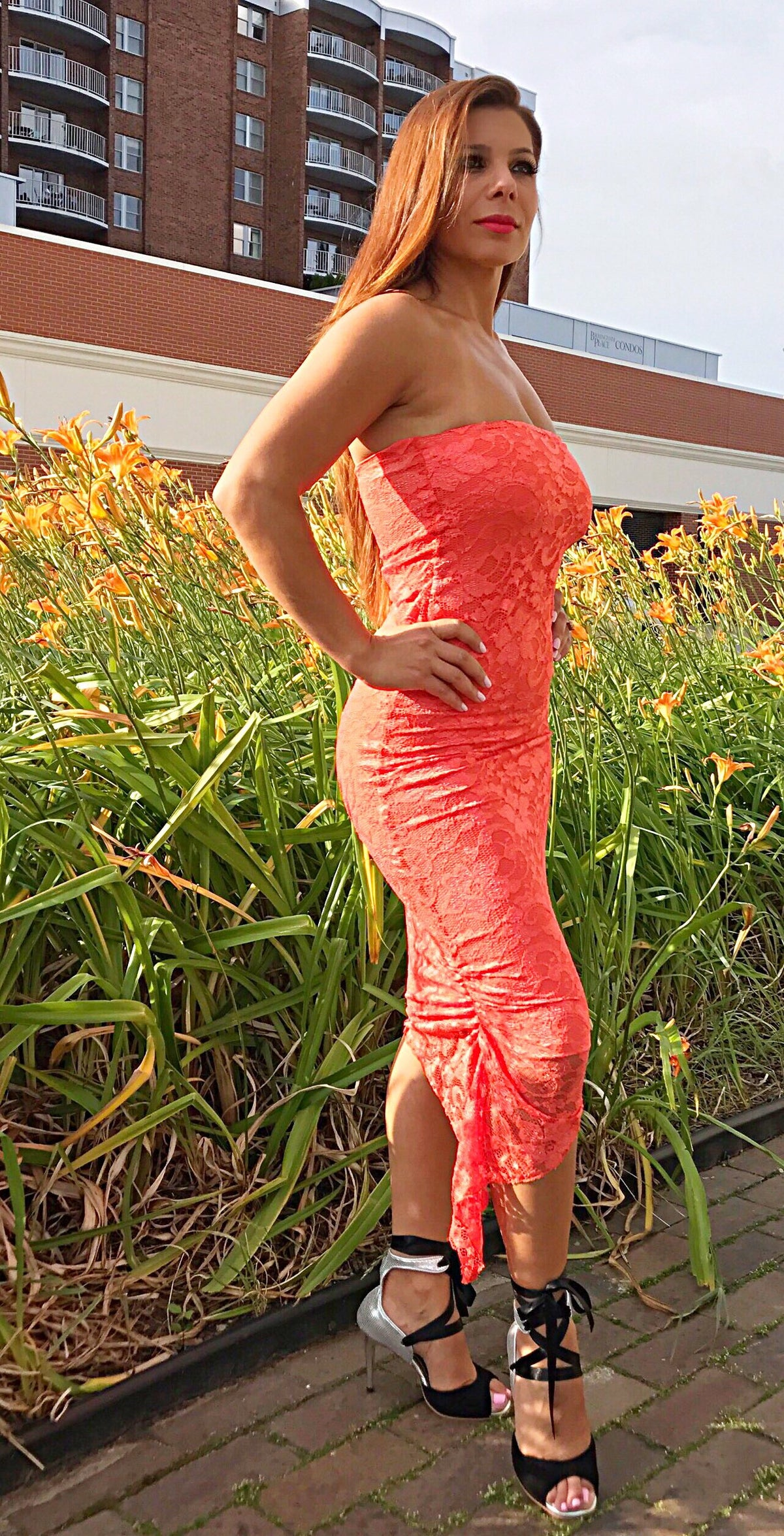 Orange Lace Tube Dress