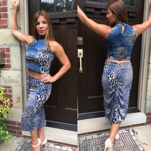 Animal Print Blue/Silver Sequined Crop Top - Bailemos Dancewear