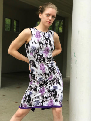 Tango dress purple lavender print - Bailemos Dancewear