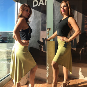 Tango skirt avocado green - Bailemos Dancewear