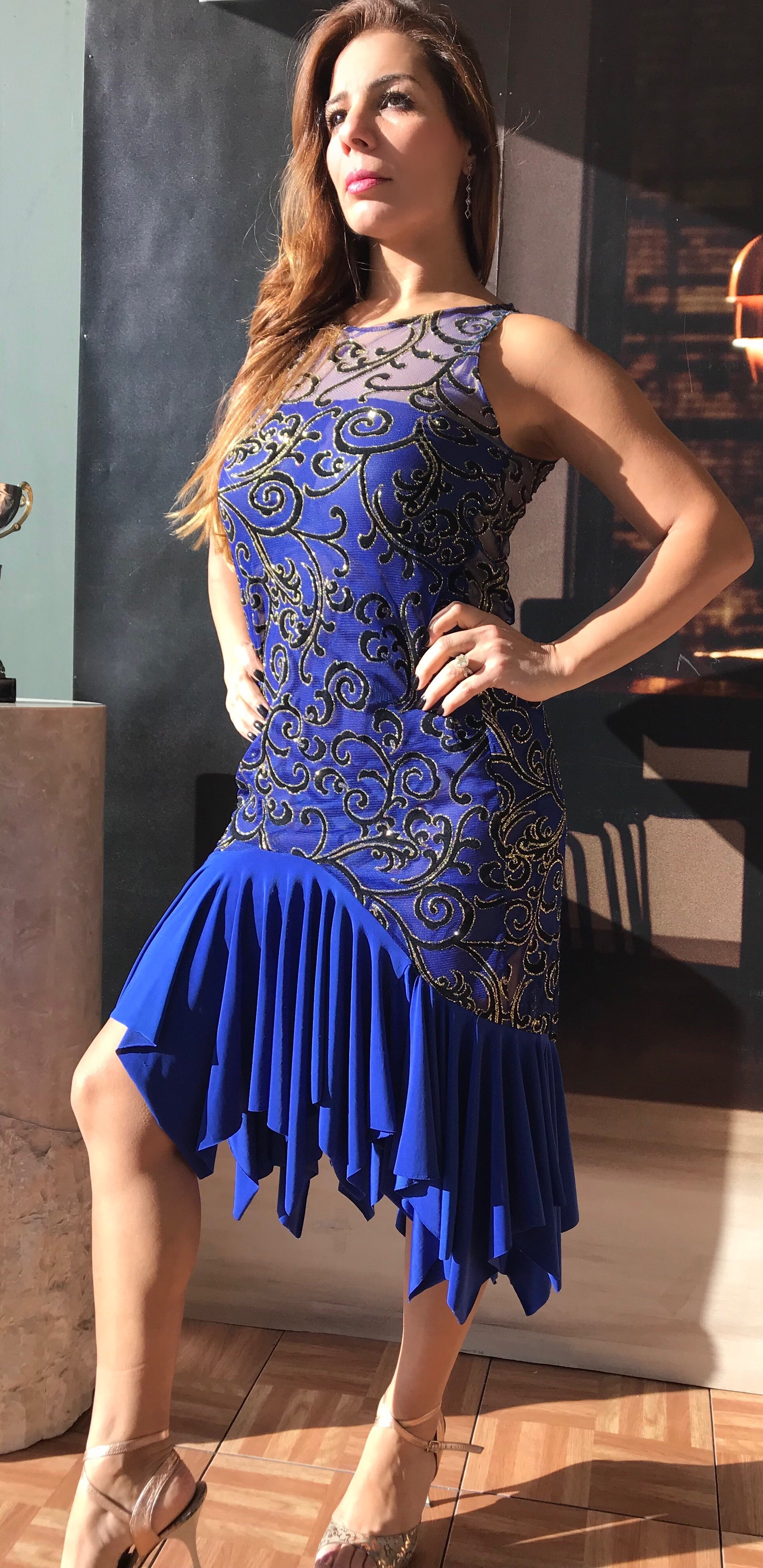 Tango dress, Argentine tango royal blue semi transparent - Bailemos Dancewear