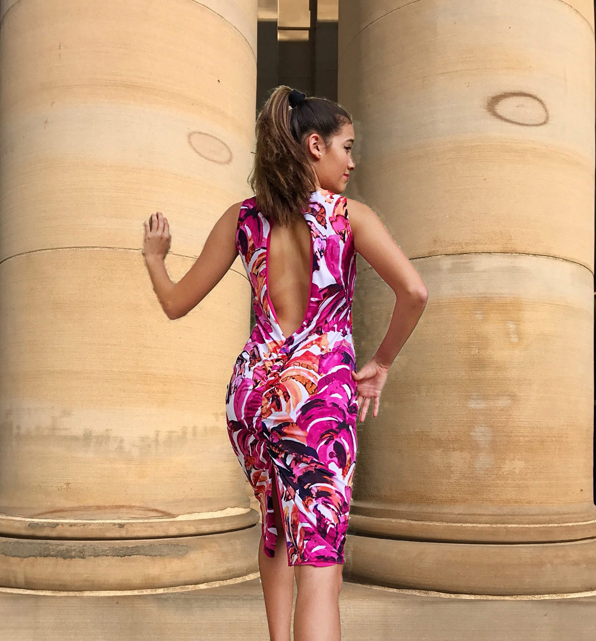 Bright fuchsia tropical print reversible dress - Bailemos Dancewear