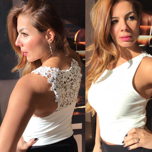 Tango top white lace crop - Bailemos Dancewear