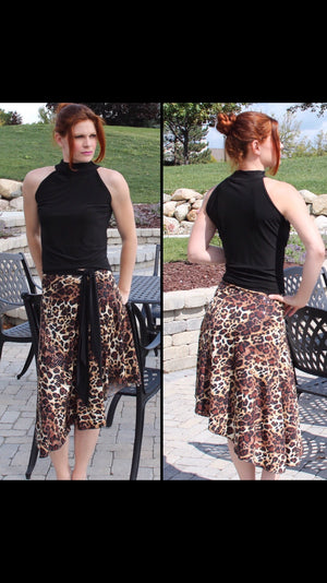 Tango skirt stretchy cheetah print - Bailemos Dancewear