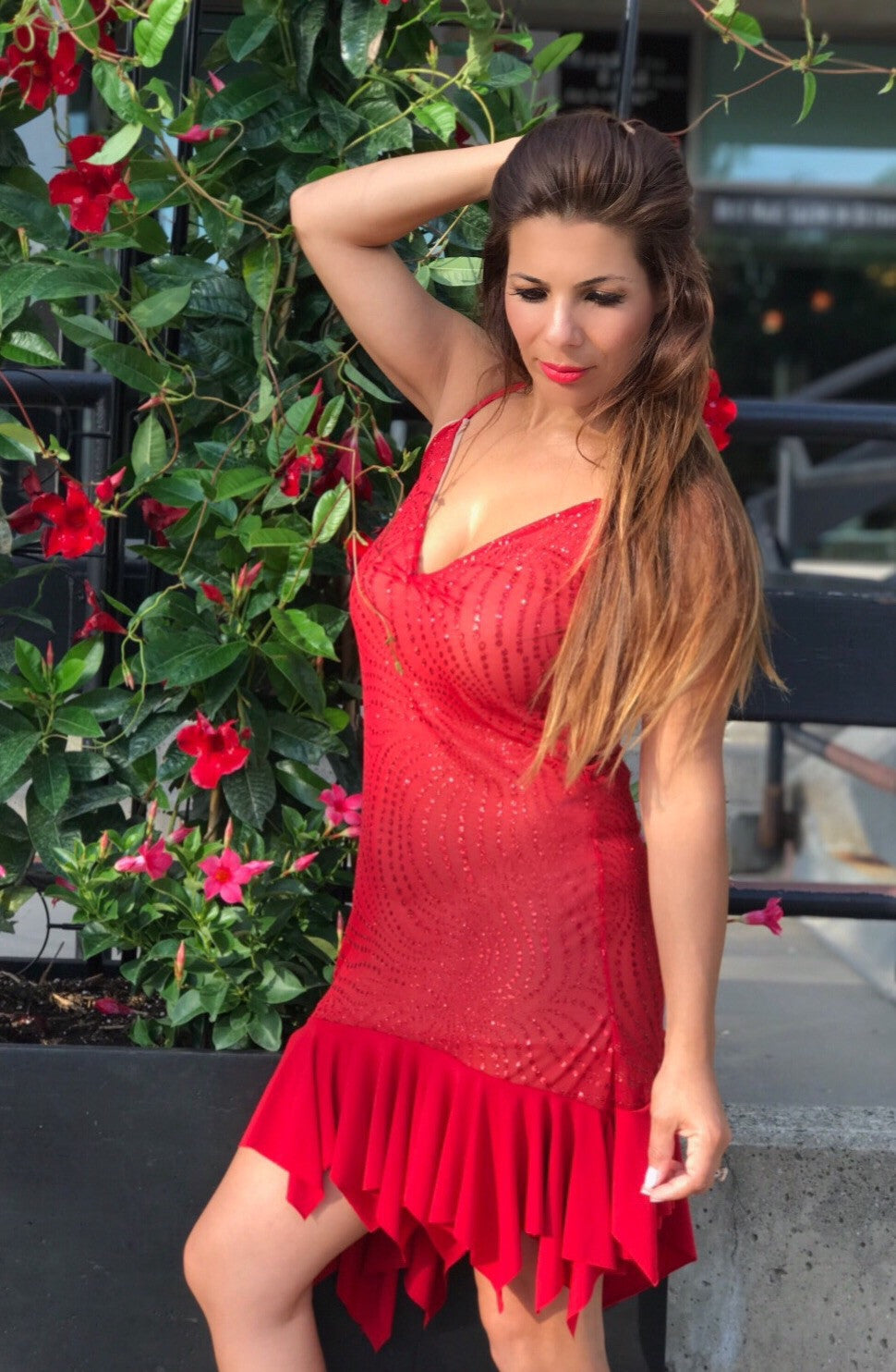Red Sultry Salsa Dress with Sequins - Bailemos Dancewear