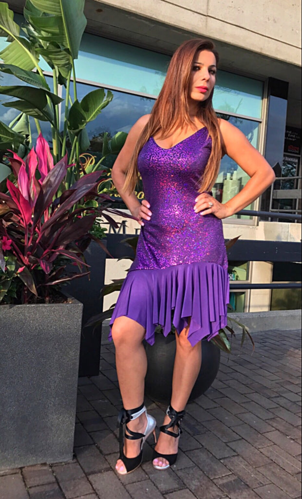 Womens Purple Sequined Latin Performance Dress - Bailemos Dancewear