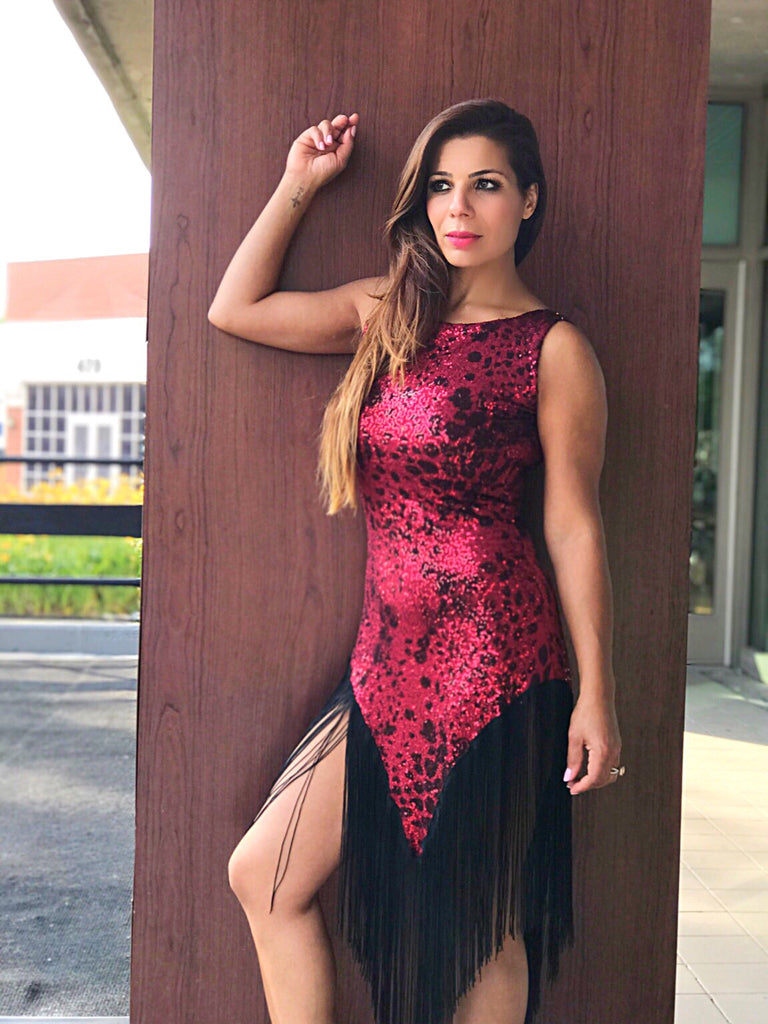 Red Sequined Tango Dress With Black Fringe - Bailemos Dancewear