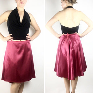 Tango skirt cranberry red satin - Bailemos Dancewear