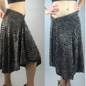 Tango skirt brown/black burned out velvet - Bailemos Dancewear