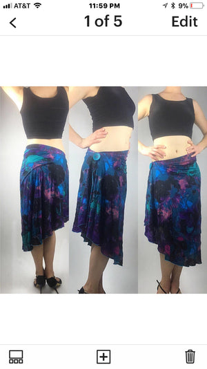 Tango skirt, comfortable stretch polyester multi color - Bailemos Dancewear