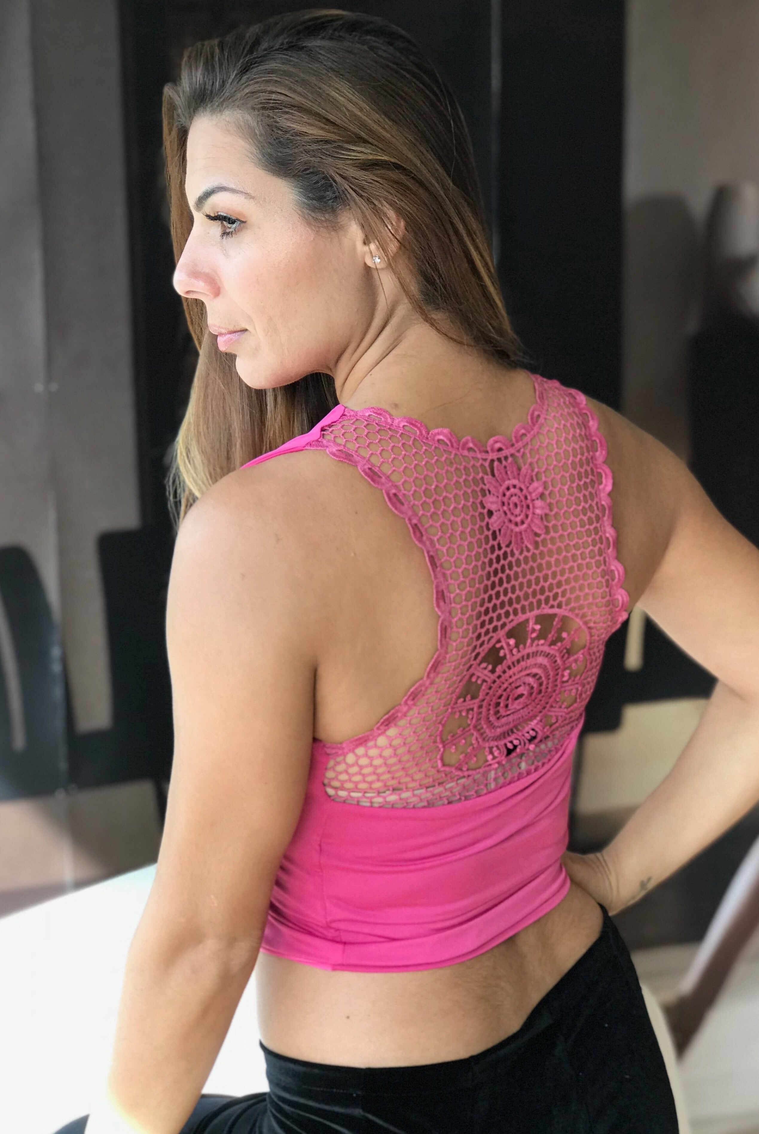 Fuchsia Crop Top Embroidered Lace Back - Bailemos Dancewear
