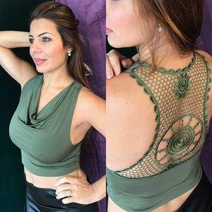 Crocheted Halter Crop Top (multiple colors available) - Bailemos Dancewear