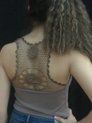 Tango top, taupe, embroidered back - Bailemos Dancewear