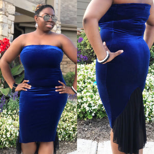Royal blue velvet tube dress - Bailemos Dancewear