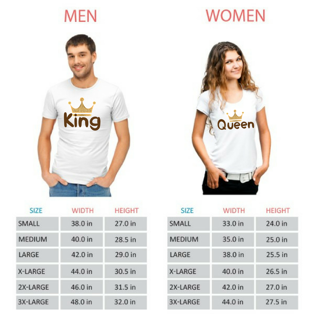 King and Queen Couple Tshirts - Round Neck Couple Tshirts (Set of 2)