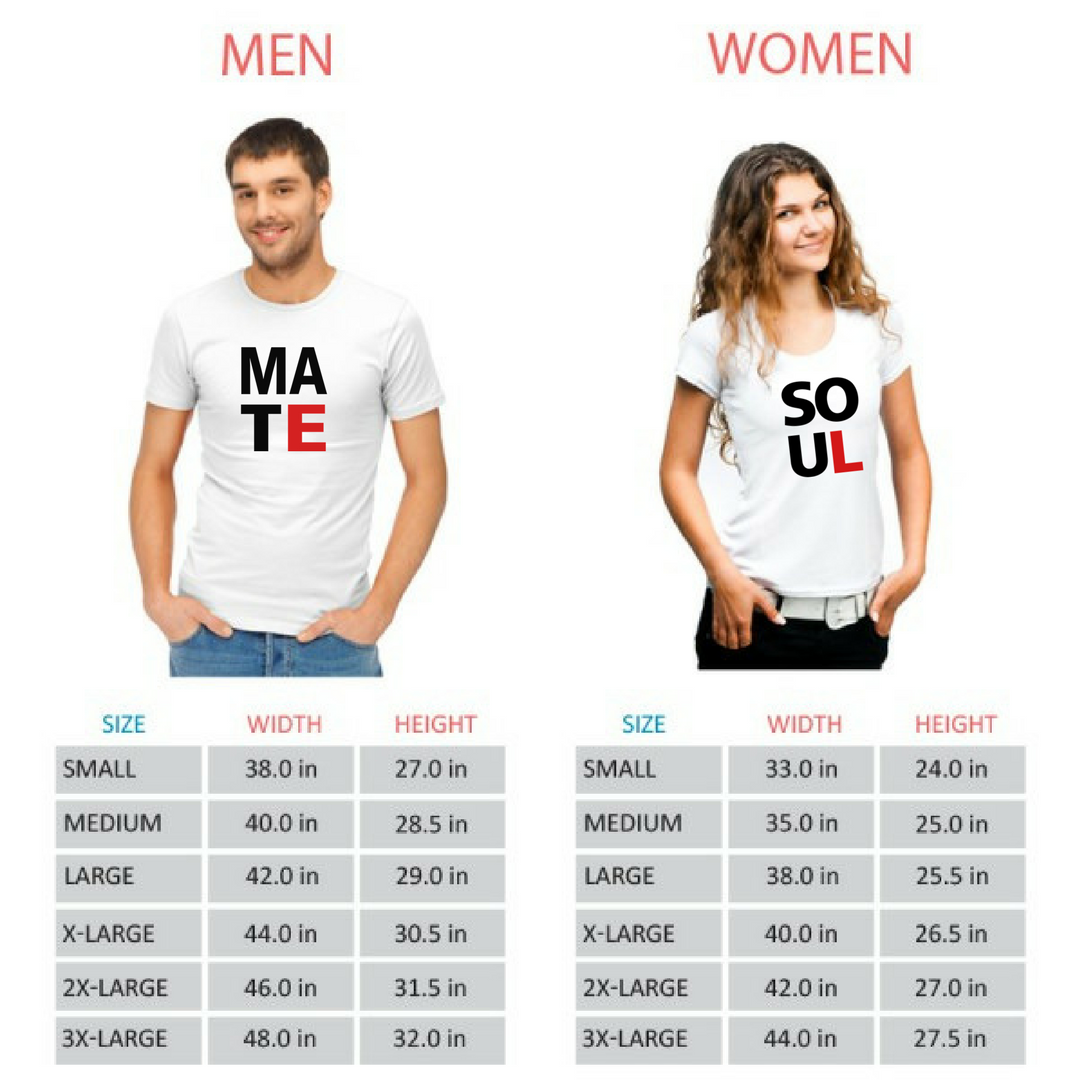 Soul Mate Couple Tshirts - Round Neck Couple Tshirts (Set of 2)