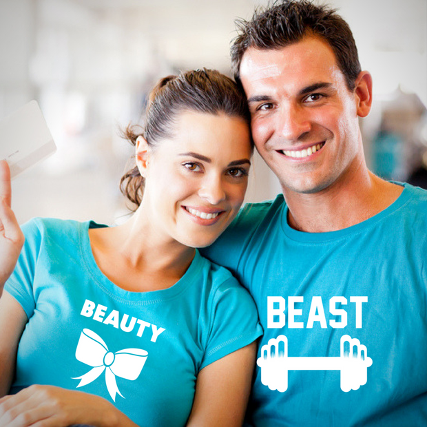 Beauty and Beast Couple Tshirts - Round Neck Couple Tshirts (Set of 2)