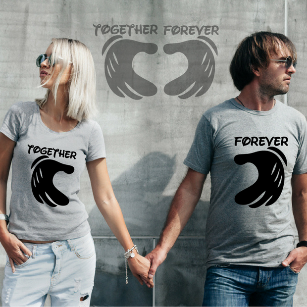 Together Forever Couple Tshirts - Round Neck Couple Tshirts (Set of 2)
