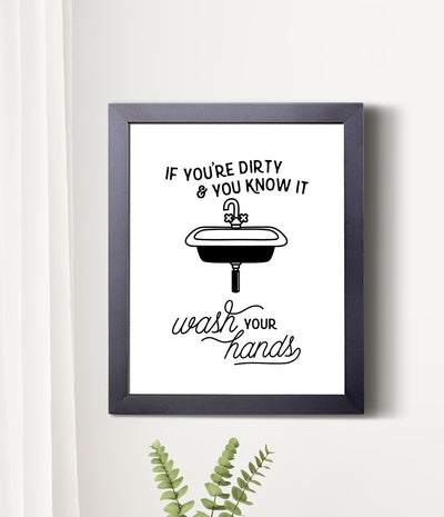 Wash your hands framed bathroom print