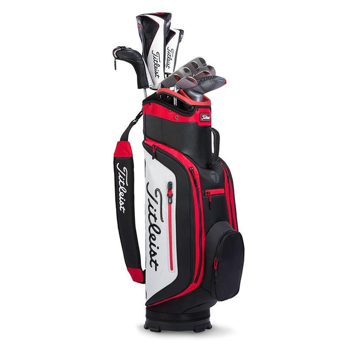 Titleist Club 7 Cart Bag Black/Black/Red - HowardsGolf