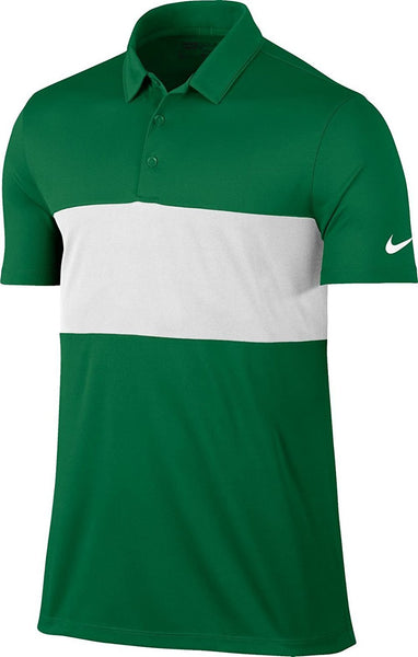 Nike Men's Breathe Color Block Golf Polo (Pine Green/White, Large)